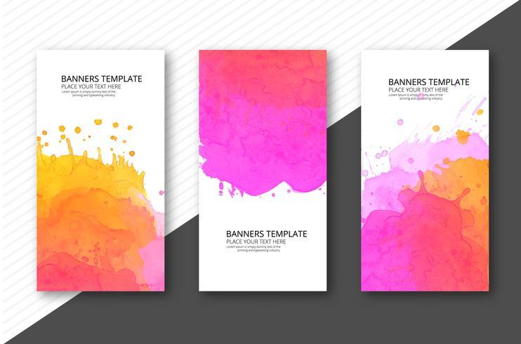 Kleurrijke zachte aquarel sjabloon banner set vector