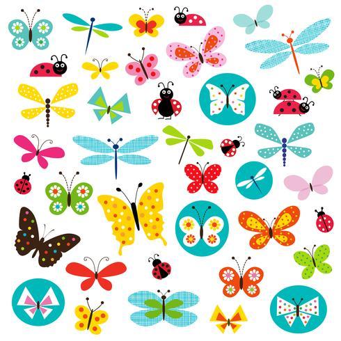 vlinder en lieveheersbeestje clipart vector