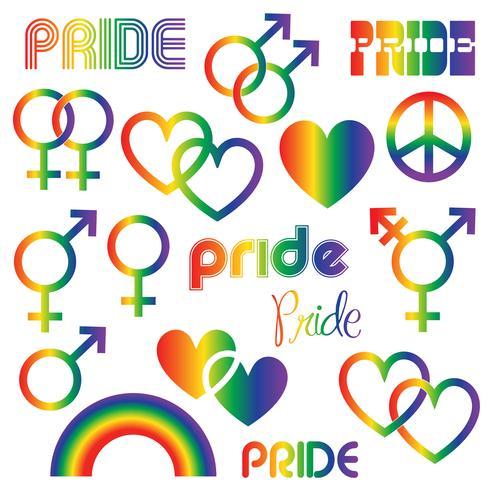 Gradiënt gay Pride pictogrammen clipart afbeeldingen vector