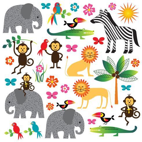 jungle planten en dieren clipart vector