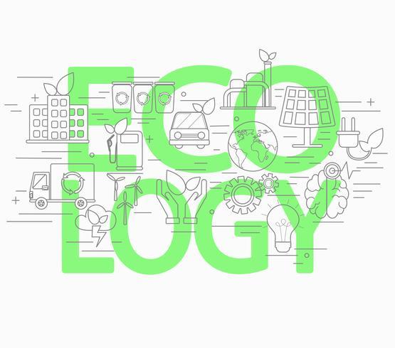 Lijnstijl concept van ecologie. vector