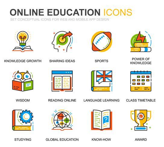 Eenvoudige set Onderwijs en kennis lijn iconen voor website en mobiele apps vector