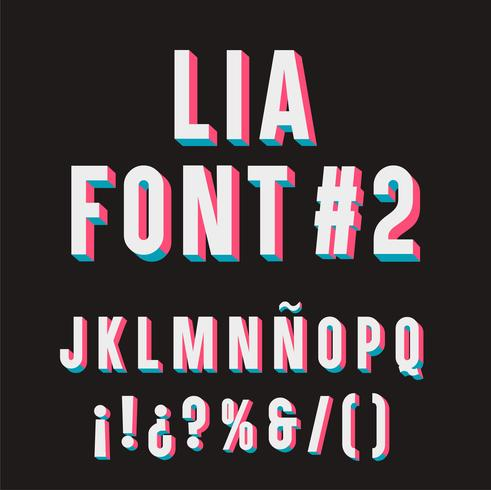 Lia-lettertype # 2. 3D-tipografie ingesteld. vector