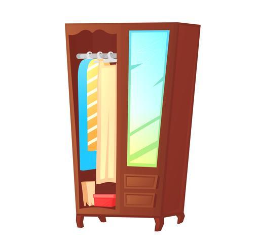 Houten kledingkast met spiegel op de deur. Vector cartoon illustratie
