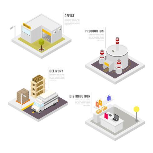 Isometrische industriële gebouwen instellen vector collectie