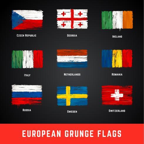Grunge vlaggen Vector Set