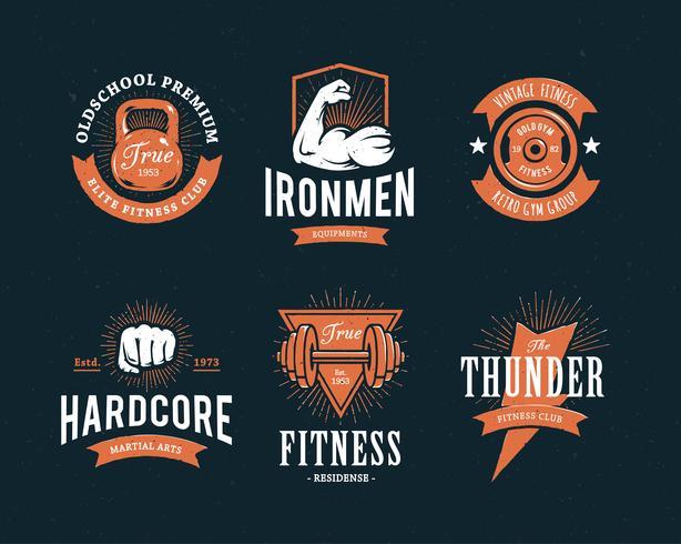 Retro fitness-emblemen vector