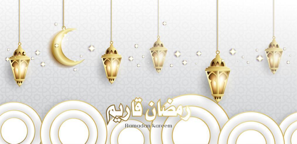 Ramadan Kareem met hangende Fanoos-lantaarn en moskeeachtergrond vector