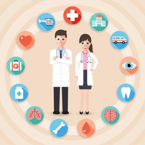 Mannelijke en vrouwelijke artsen vector