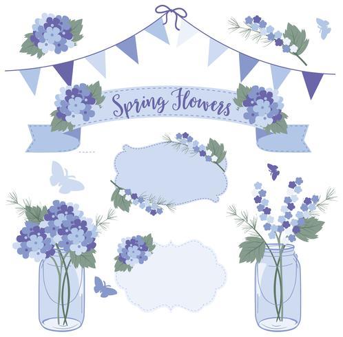 Lente bloemen blauw vector