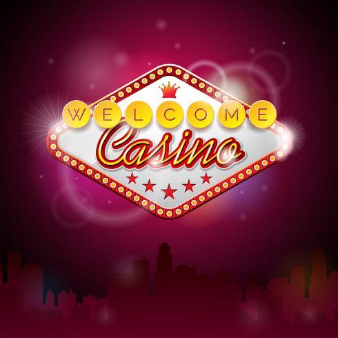 Vectorillustratie op een casinothema met verlichtingsvertoning en welkome tekst vector