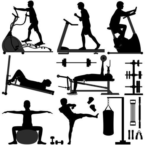 Gym workout Oefen set vector