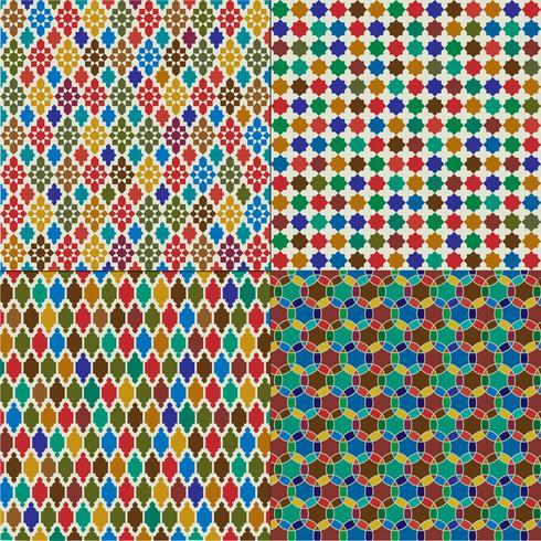 kleurrijke Marokkaanse tegelpatronen vector