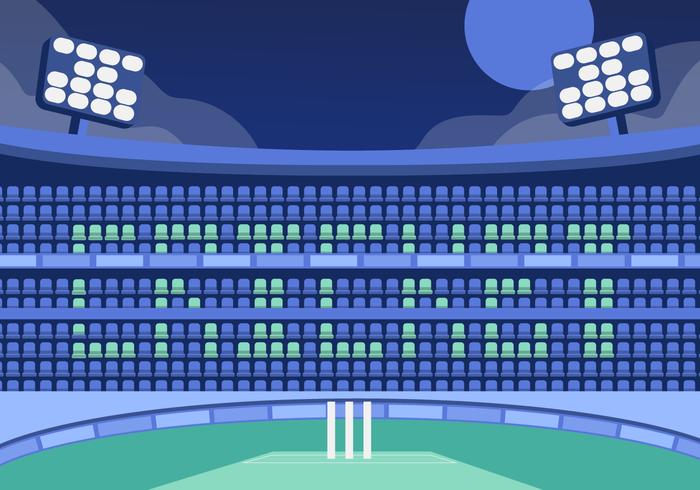 cricket stadion achtergrond vector vlakke afbeelding
