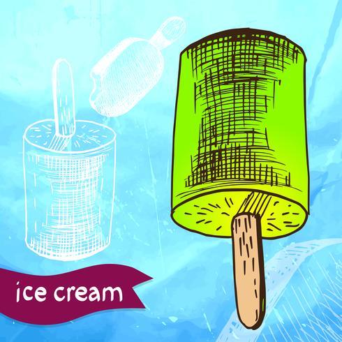 Doodle ijs bevroren dessert stijl schets vector