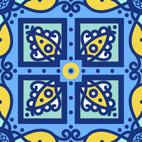 Blauwe ornament traditionele Portugese azulejos. Oosters naadloos patroon vector