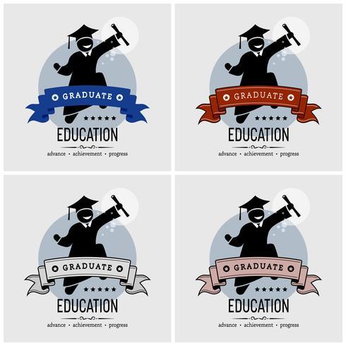 Student afstuderen logo ontwerp. vector