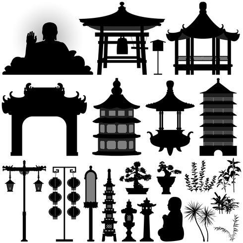 Aziatische tempelrelikwieën. vector
