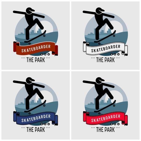 Skateboarder clublogo ontwerp. vector