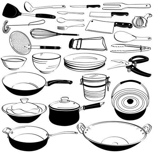Keuken gereedschap gebruiksvoorwerp apparatuur Doodle tekening schets. vector
