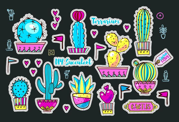 Set Fashion-patches, broches met cactussen vector
