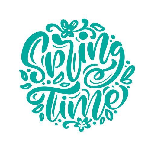 Kalligrafie belettering zin lente tijd vector