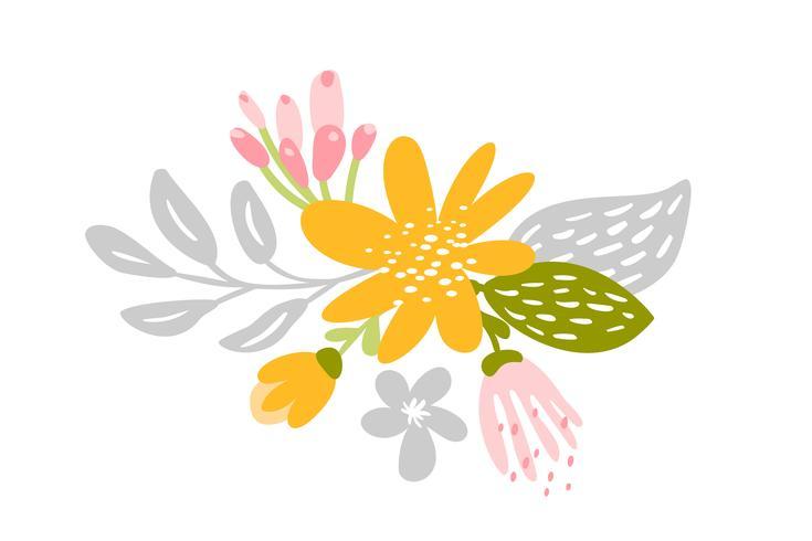 Vector geïsoleerde vlakke bloem op witte achtergrond