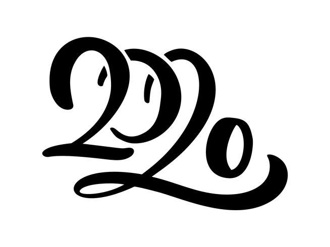 Hand getrokken vector belettering kalligrafie zwarte nummertekst 2020