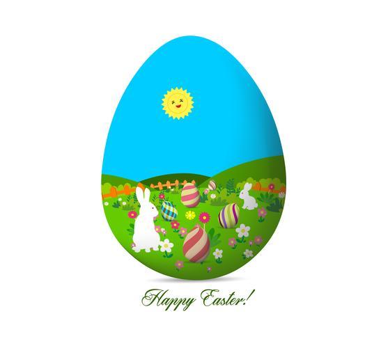 gelukkige Pasen met eieren landschap vector