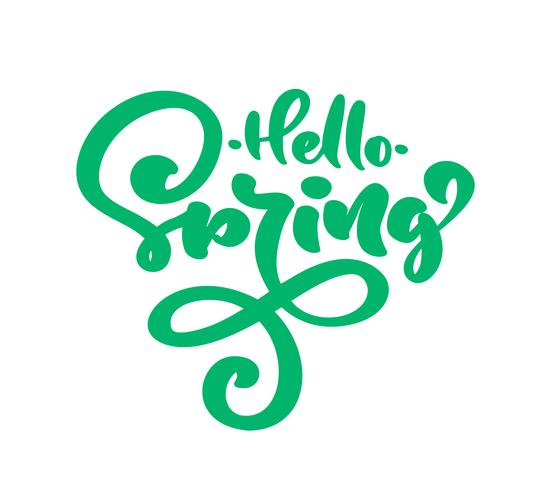 Groene kalligrafie belettering zin Hallo lente vector