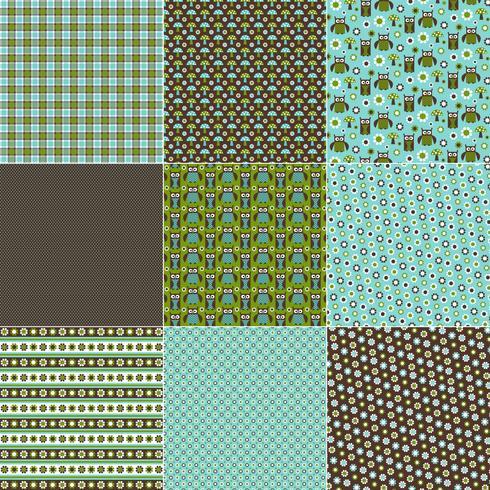 Blauwe en groene uil patronen vector