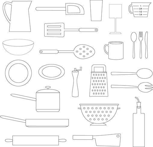 zwarte overzicht keuken koken objecten vector