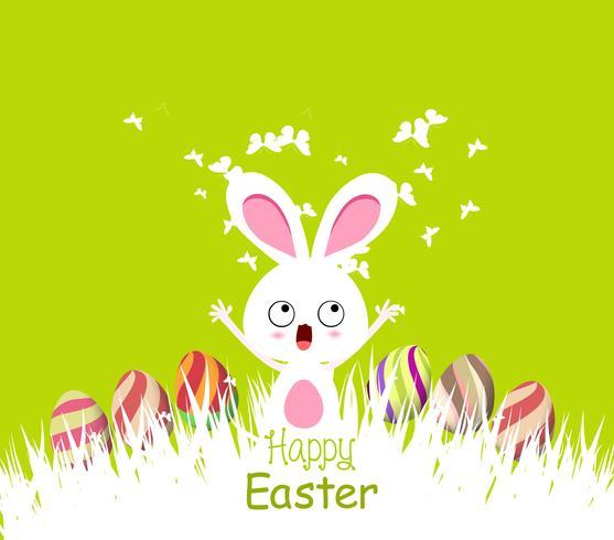 Gelukkige Pasen-kaartenillustratie met Pasen-konijntje vector