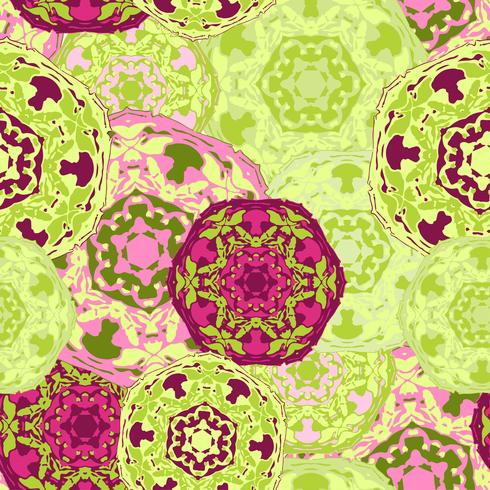 Zigeuner naadloze patroon van abstracte veelkleurige ronde mandala's. vector