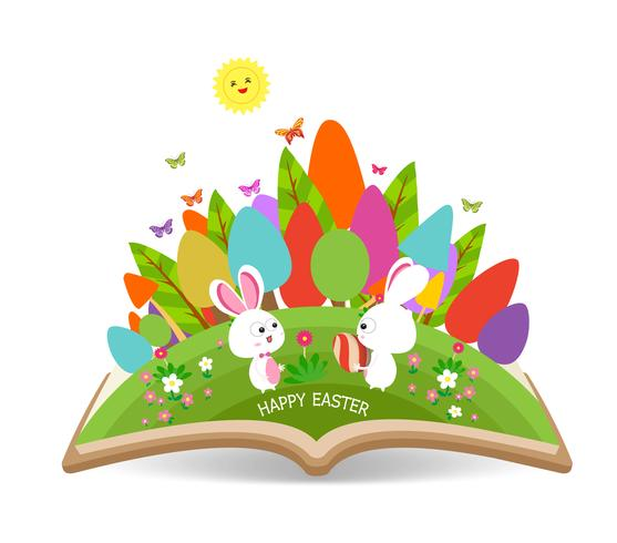 easter_egg_and_bunny_spring_with_grass_garden_in_the_book vector