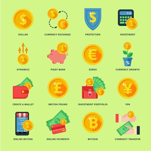 Valutawissel in het banksysteem vector