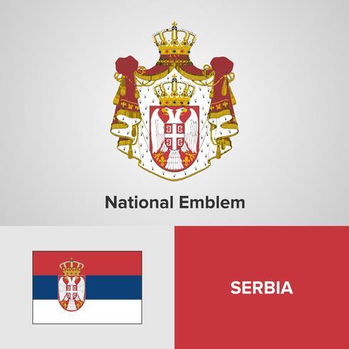 Servië Nationaal embleem, kaart en vlag vector