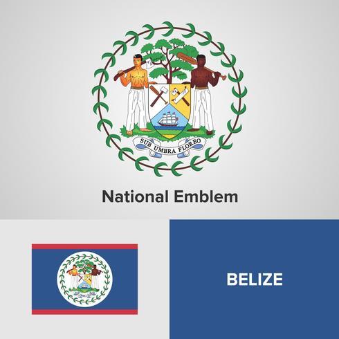 Belize National Emblem, kaart en vlag vector
