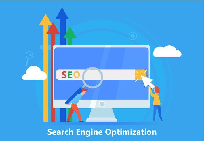 Seo banner. Werk aan de inhoud van de site en het indexeren van zoekmachines. Teamwerk op de website. Platte vectorillustratie vector