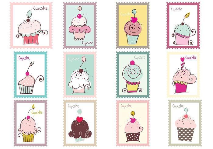 Cupcake Postzegels Vector Pack