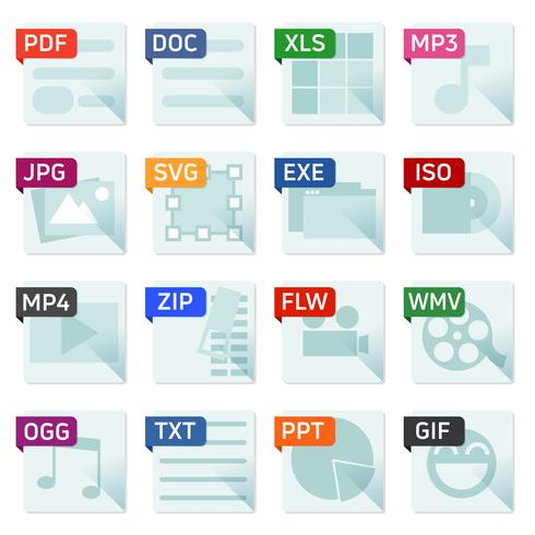 Bestandsformaat platte pictogrammenset vector