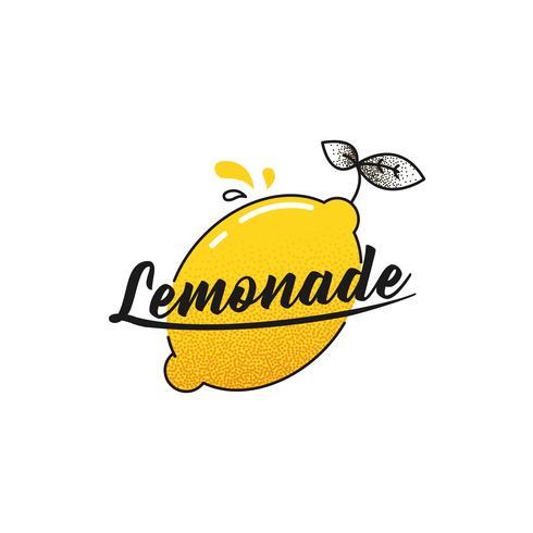 Maak een limonade-logo. Logo met heldere verse citroen. Zomertekening voor een smoothieswinkel. Vector lijn kunst illustratie