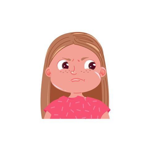 Schattig meisje is boos. Spijt emotie kind. Vector cartoon illustratie