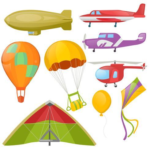 Set van vliegende trancport - helikopter, aeroplan. Vector realistische illustratie