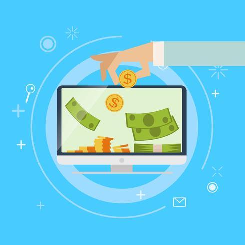 Bank voor online winstbankieren. Er wordt geld in de computer gestopt. Platte vectorillustratie vector