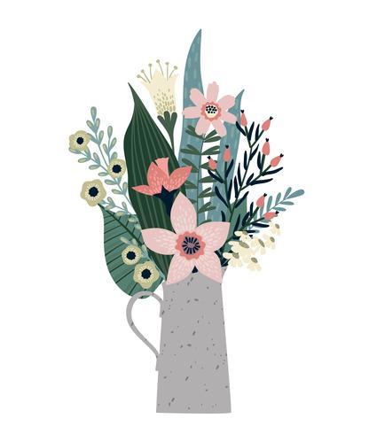 Vector illustratie boeket van bloemen. Ontwerpsjabloon voor kaart, poster, flyer.