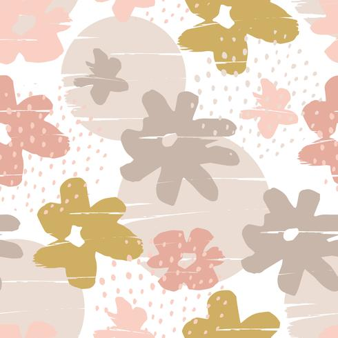 Abstract floral naadloze patroon met trendy hand getrokken texturen. vector