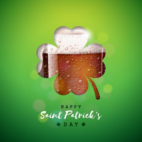 St. Patrick's Day ontwerp met bier mok in klaver silhouet vector