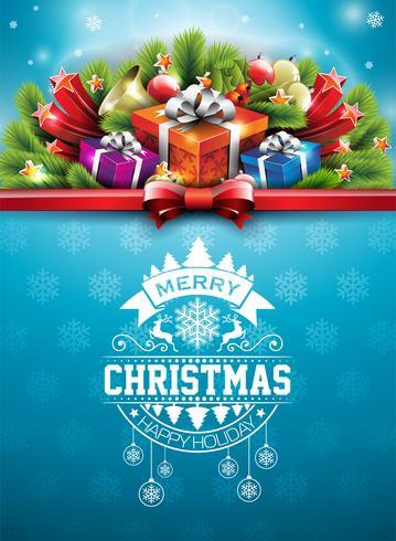 """""""Merry Christmas"""" illustratie met typografie en geschenken vector"""