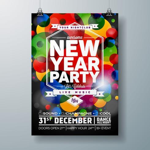 Nieuwe jaar partij viering Poster sjabloon illustratie vector